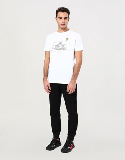 T-Shirt für Herren aus Baumwolle mit technischen Auto-Print
