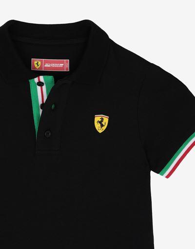 Scuderia Ferrari Online Store - Boys' cotton pique polo shirt with Italian flag - Short Sleeve Polos