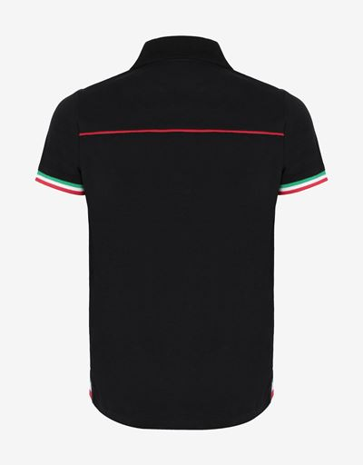 Children's cotton pique polo shirt with Italian flag