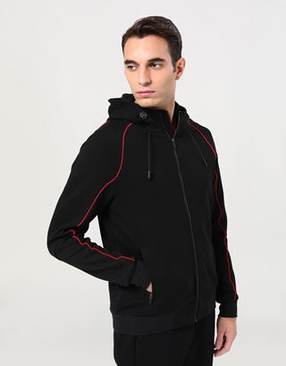 Scuderia Ferrari Online Store - Men's Hooded Sweatshirt with Fit System - Zip Jumpers