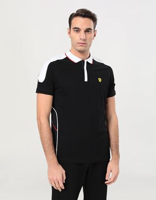 Scuderia Ferrari Online Store - Men's Air Intake polo shirt in cotton pique - Short Sleeve Polos