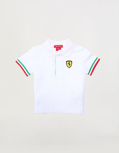 Infants' pique polo shirt with Italian flag