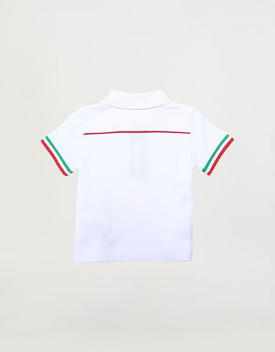 Infant pique polo shirt with Italian flag