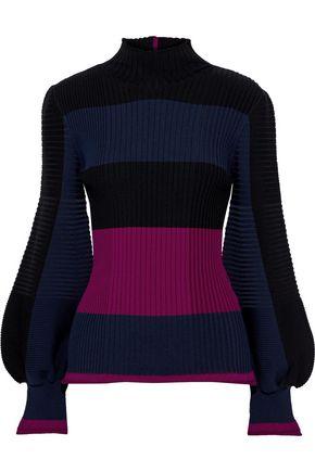 ROKSANDA Auric cutout color-block ribbed wool sweater