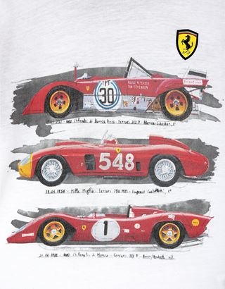 Scuderia Ferrari Online Store - Boys' T-shirt with hood and historic car print - Short Sleeve T-Shirts