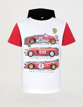 Scuderia Ferrari Online Store - Children's hooded T-shirt with vintage car print - Short Sleeve T-Shirts