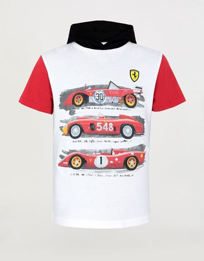 Children's hooded T-shirt with vintage car print