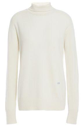 VICTORIA BECKHAM Logo-embroidered ribbed cashmere turtleneck sweater