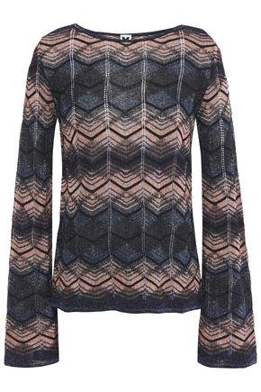 M MISSONI Striped metallic crochet-knit top