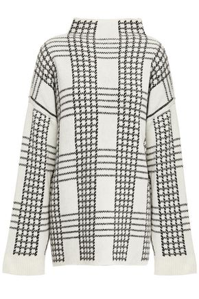 HOUSE OF DAGMAR Checked jacquard-knit wool-blend turtleneck sweater