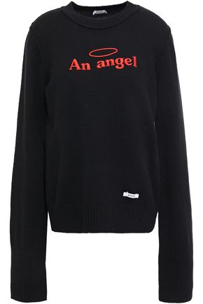 BLOUSE An Angel embroidered merino wool and cotton-blend sweater