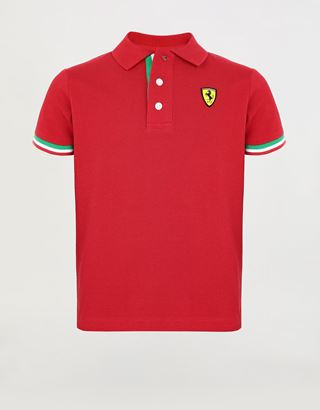 Scuderia Ferrari Online Store - Boys' cotton pique polo shirt with Italian flag - Short Sleeve Polos