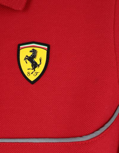 Scuderia Ferrari Online Store - Boys' cotton polo shirt with Split Line reflective piping - Short Sleeve Polos