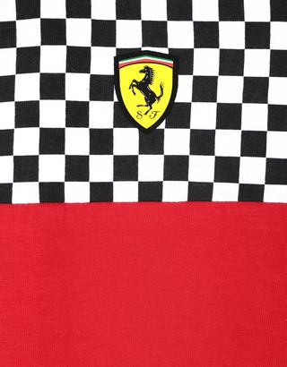 Scuderia Ferrari Online Store - Boys' jersey T-shirt with chequered design - Short Sleeve T-Shirts