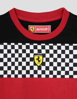 Scuderia Ferrari Online Store - Boys' jersey T-shirt with checkered flag detail - Short Sleeve T-Shirts