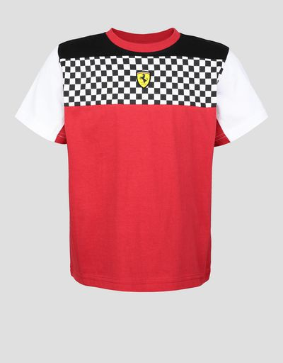 Boys' jersey T-shirt with checkered flag detail
