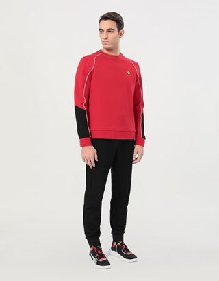 Scuderia Ferrari Online Store - Men's sweatshirt in double knit with piping - Crew Neck Sweaters