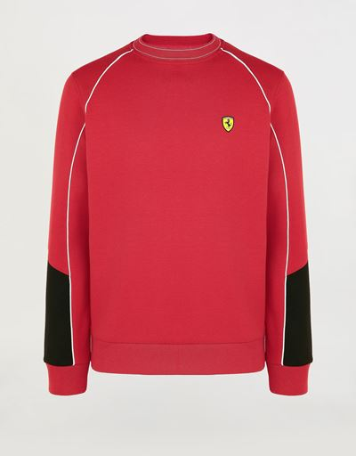 Men's double knit sweatshirt with piping