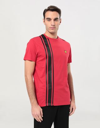 Scuderia Ferrari Online Store - Men's Racing T-shirt with carbon fibre effect print - Short Sleeve T-Shirts