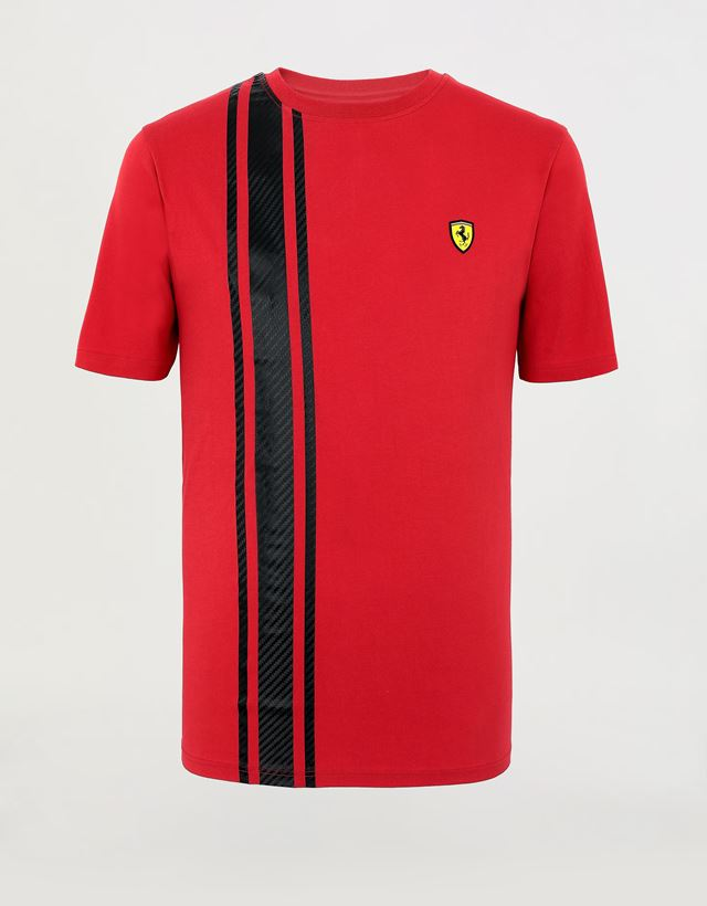 Scuderia Ferrari Online Store - Men's Racing T-shirt with carbon fiber-effect print - Short Sleeve T-Shirts