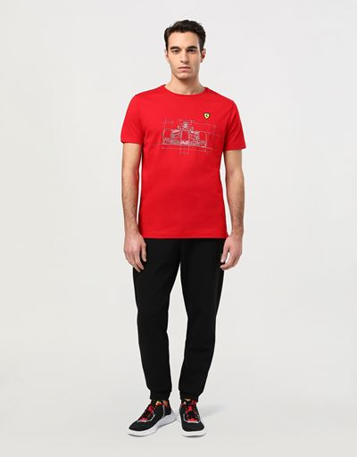 T-shirt uomo in cotone con stampa tecnica vettura