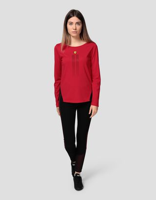 Scuderia Ferrari Online Store - Women's long-sleeved Racing T-shirt with rhinestones - Long Sleeve T-Shirts
