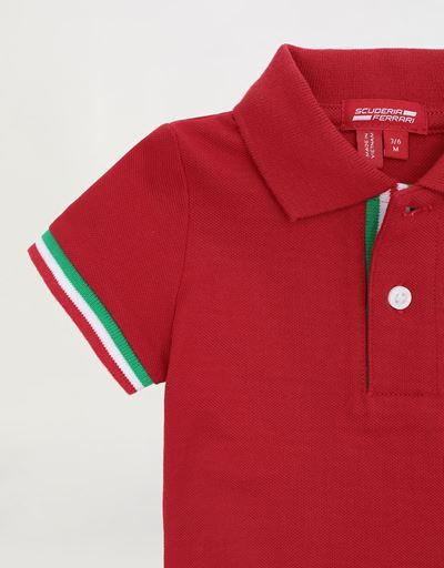 Scuderia Ferrari Online Store - Infants' pique polo shirt with Italian flag - Short Sleeve Polos