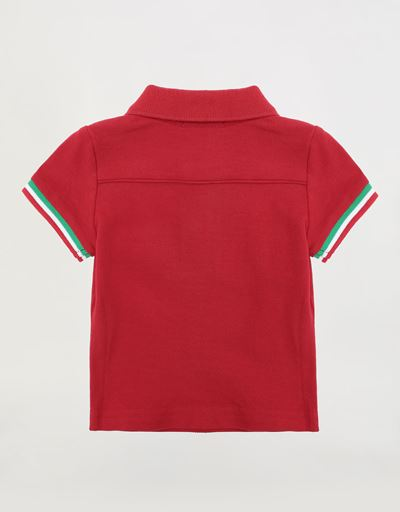 Infants' pique polo shirt with Italian flag