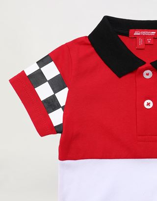 Scuderia Ferrari Online Store - Infant cotton polo shirt with rubberized print - Short Sleeve Polos