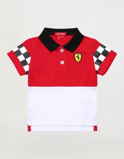 Infants' cotton polo shirt with rubberised print