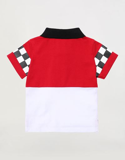 Infant cotton polo shirt with rubberized print