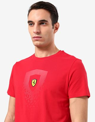 Scuderia Ferrari Online Store - 男士法拉利盾形徽标印纹棉质 T 恤 - Short Sleeve T 恤
