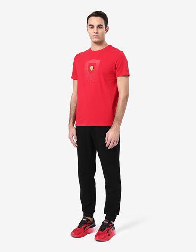男士法拉利盾形徽标印纹棉质 T 恤