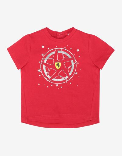 Infant girls' T-shirt with glitter print