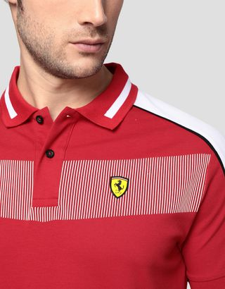Scuderia Ferrari Online Store - Men's cotton piqué polo shirt with contrasting inserts - Short Sleeve Polos
