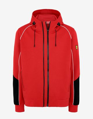 Scuderia Ferrari Online Store - Men's hooded sweatshirt with Fit System - Zip Sweaters