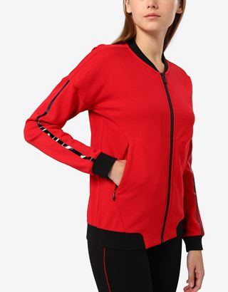 Scuderia Ferrari Online Store - Women's sweatshirt in French Terry with print on the sleeves - Zip Jumpers