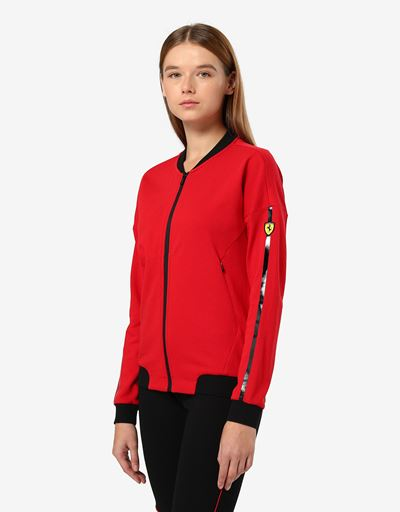 Scuderia Ferrari Online Store - Women's French Terry sweatshirt with sleeve print - Zip Sweaters