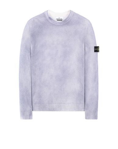 STONE ISLAND 543B7 HAND SPRAYED TREATMENT  Sweater Man Blue Grey USD 279