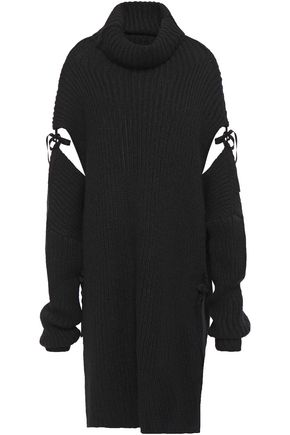 ANN DEMEULEMEESTER オーバーサイズ カットアウト リボン付き アルパカ混 タートルネックセーター