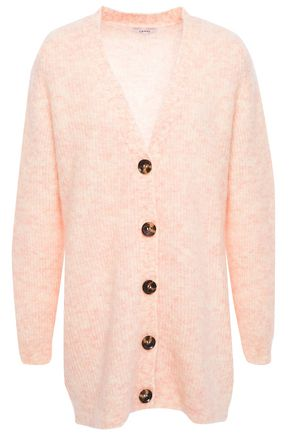 GANNI Mélange brushed knitted cardigan