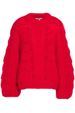 GANNI Julliard open-knit mohair and wool-blend sweater