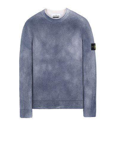 STONE ISLAND 543B7 HAND SPRAYED TREATMENT  Sweater Man Marine Blue USD 410
