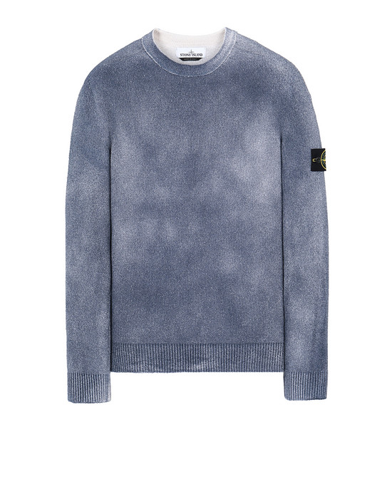 STONE ISLAND 543B7 HAND SPRAYED TREATMENT  Sweater Man Marine Blue