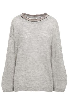 BRUNELLO CUCINELLI Bead-embellished mélange knitted sweater