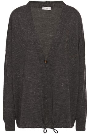 BRUNELLO CUCINELLI Bead-embellished mélange cashmere, silk and hemp-blend cardigan