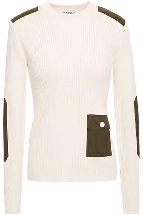 GANNI Shell-paneled ribbed-knit sweater