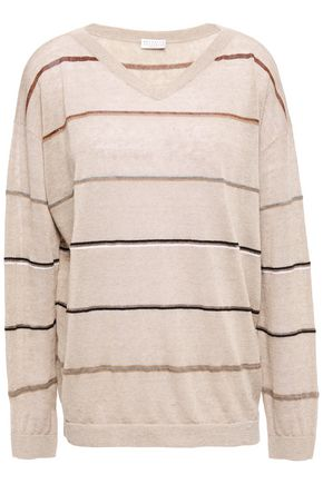 BRUNELLO CUCINELLI Metallic-trimmed striped linen-blend sweater