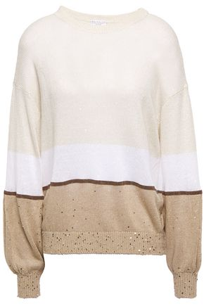 BRUNELLO CUCINELLI Bead-embellished color-block linen and silk-blend sweater