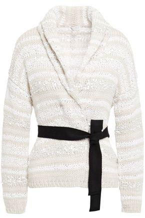 BRUNELLO CUCINELLI Sequin-embellished striped cotton-blend cardigan